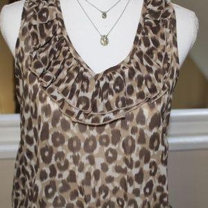 Fun & Flirty Tops - Animal print chiffon ruffled shirt